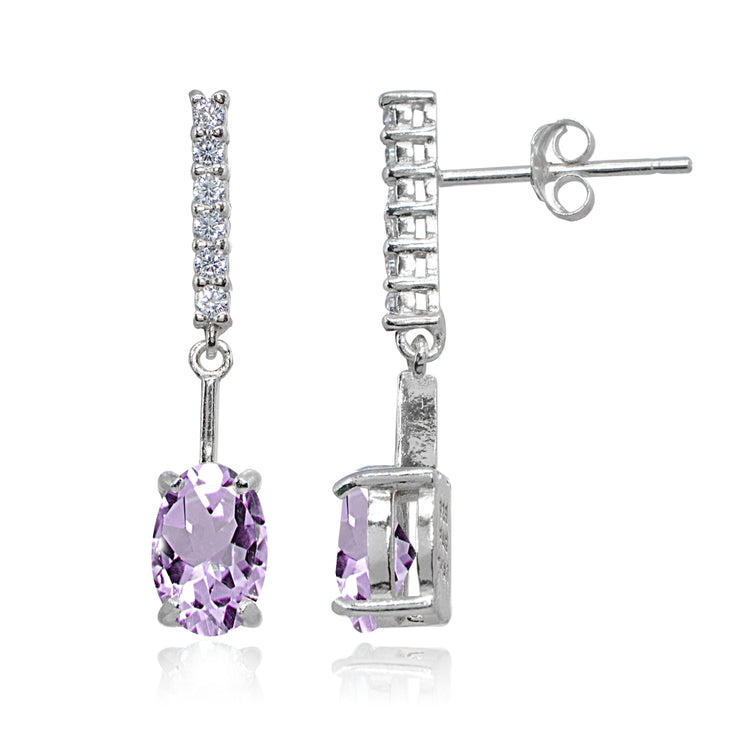 Sterling Silver Amethyst & White Topaz Oval Encrusted Bar Dangle Drop Earrings