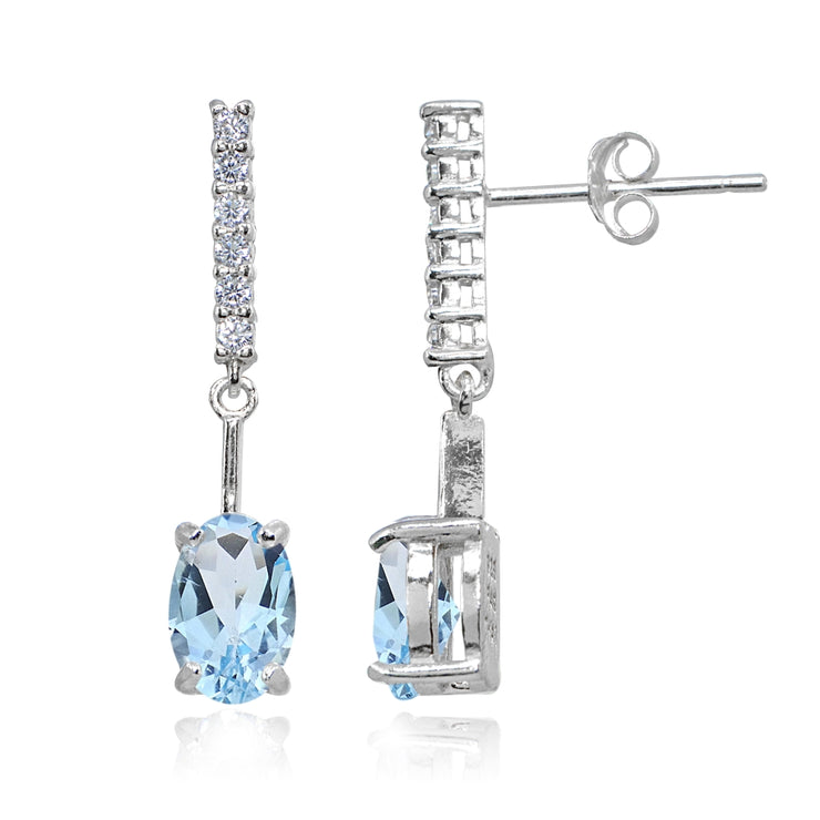 Sterling Silver Blue & White Topaz Oval Encrusted Bar Dangle Drop Earrings