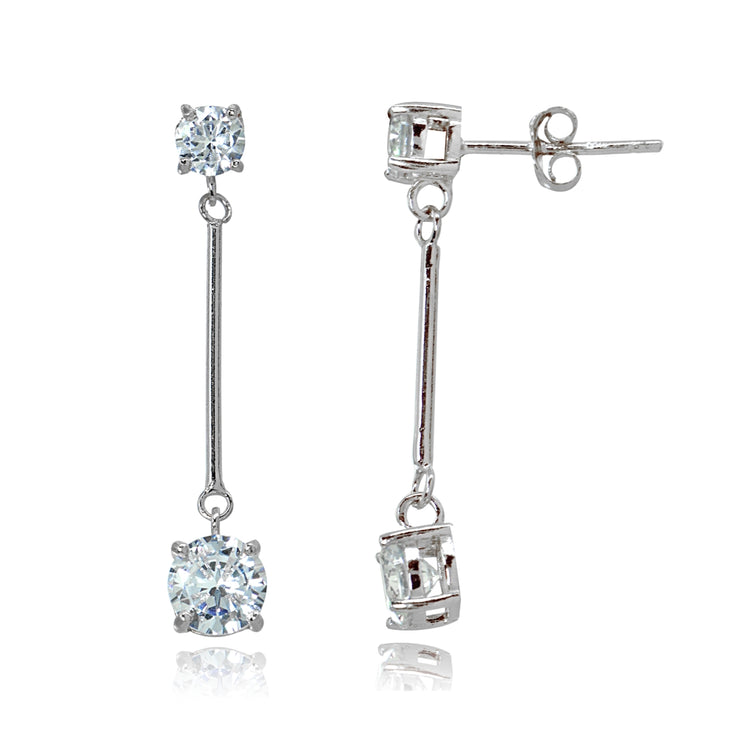Sterling Silver Cubic Zirconia Round Statement Bar Dangle Drop Earrings