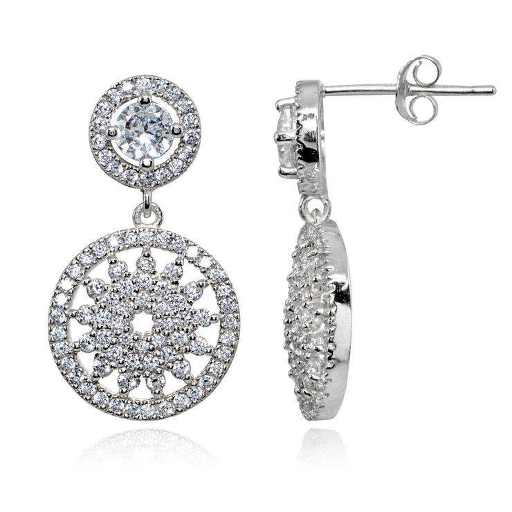 Sterling Silver Polished Cubic Zirconia Round Medallion Cluster Dangle Drop Earrings