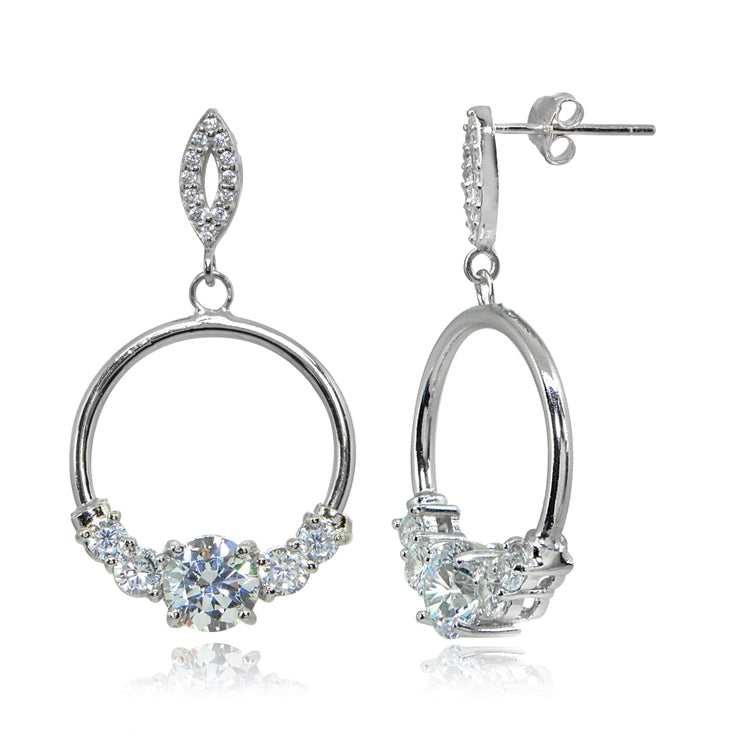 Sterling Silver Cubic Zirconia Round Frontal Hoop Dangle Drop Earrings