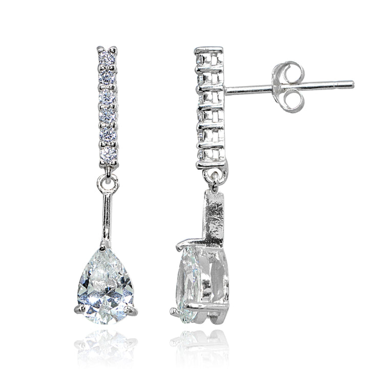 Sterling Silver Cubic Zirconia Teardrop Encrusted Bar Statement Dangle Drop Earrings