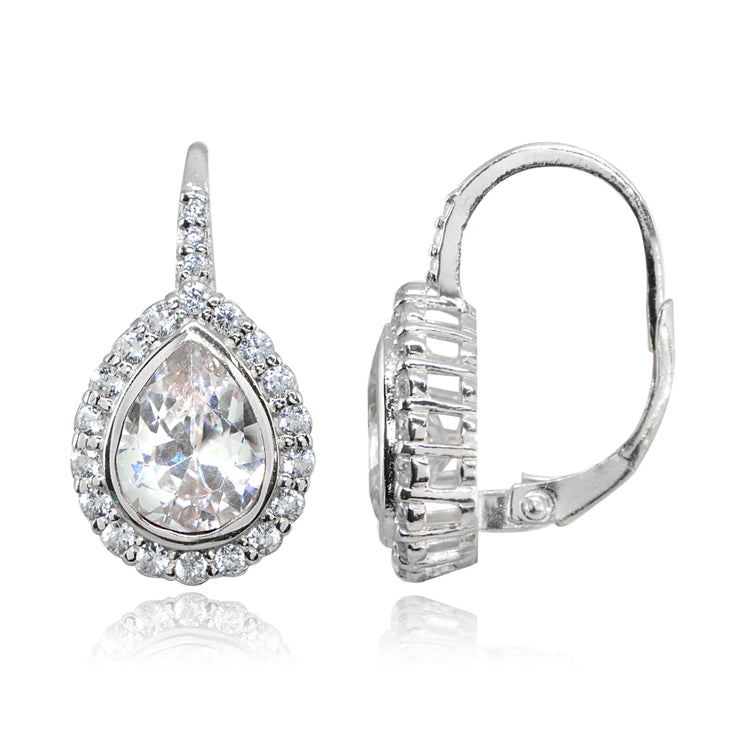 Sterling Silver Polished Cubic Zirconia Teardrop Halo Leverback Earrings