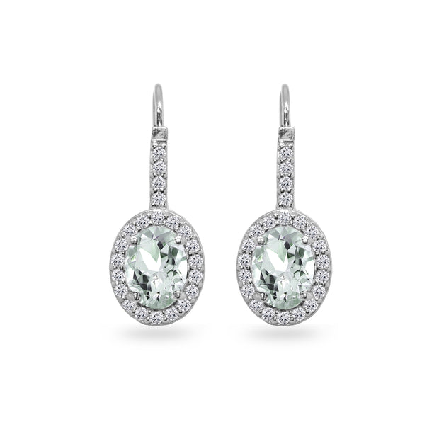 Sterling Silver Light Aquamarine & Cubic Zirconia 8x6mm Oval Halo Drop Leverback Earrings