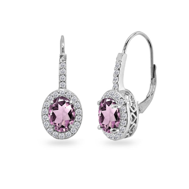 Sterling Silver Simulated Alexandrite & Cubic Zirconia 8x6mm Oval Halo Drop Leverback Earrings