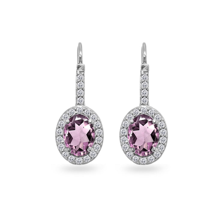 Sterling Silver Created Alexandrite & Cubic Zirconia 8x6mm Oval Halo Drop Leverback Earrings