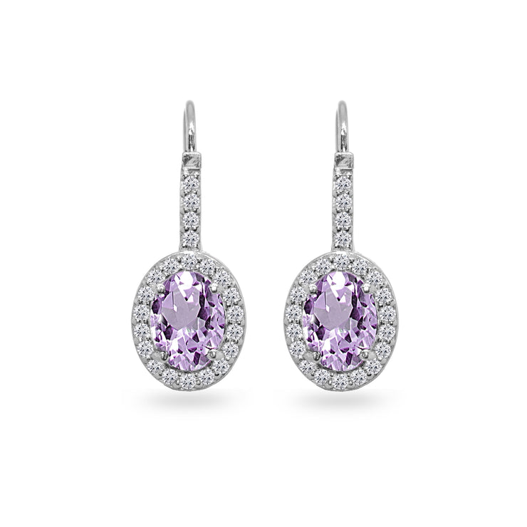 Sterling Silver Amethyst & Cubic Zirconia 8x6mm Oval Halo Drop Leverback Earrings