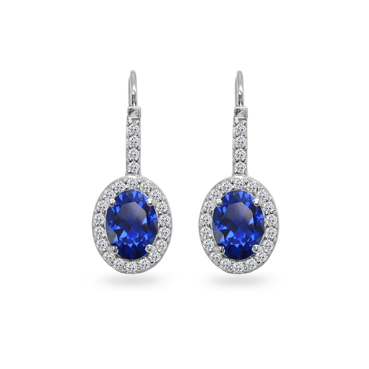 Sterling Silver Created Blue Sapphire & Cubic Zirconia 8x6mm Oval Halo Drop Leverback Earrings