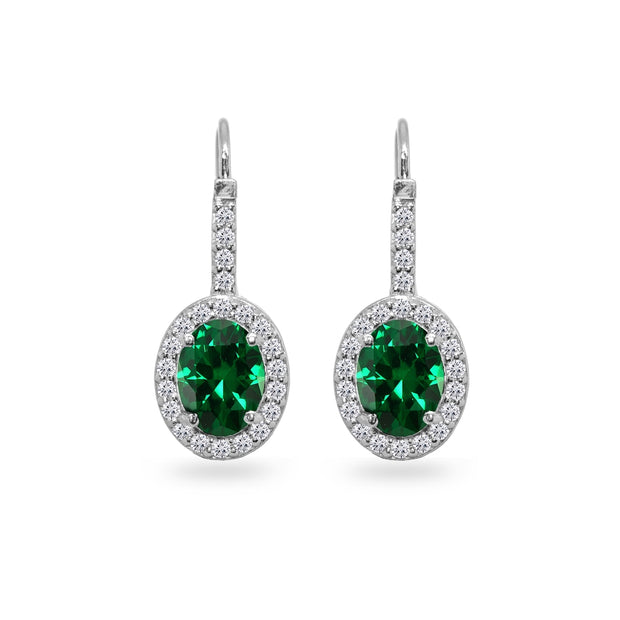 Sterling Silver Created Emerald & Cubic Zirconia 8x6mm Oval Halo Drop Leverback Earrings