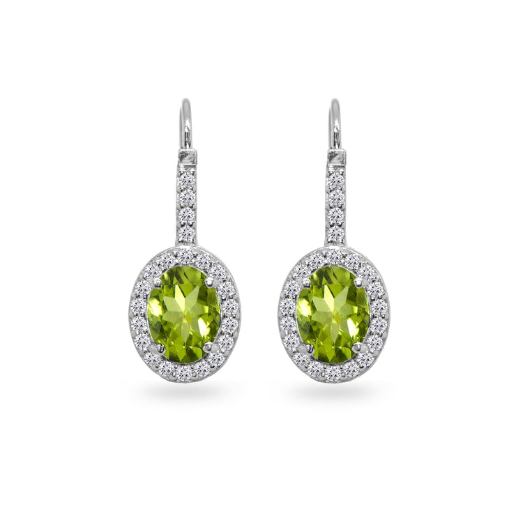 Sterling Silver Peridot & Cubic Zirconia 8x6mm Oval Halo Drop Leverback Earrings