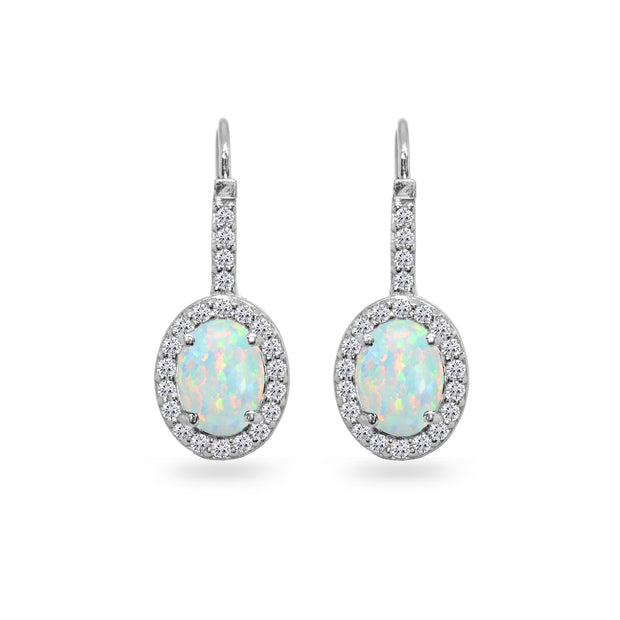 Sterling Silver Created White Opal & Cubic Zirconia 8x6mm Oval Halo Drop Leverback Earrings