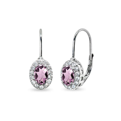 Sterling Silver Simulated Alexandrite & Cubic Zirconia 6x4mm Oval Halo Drop Leverback Earrings