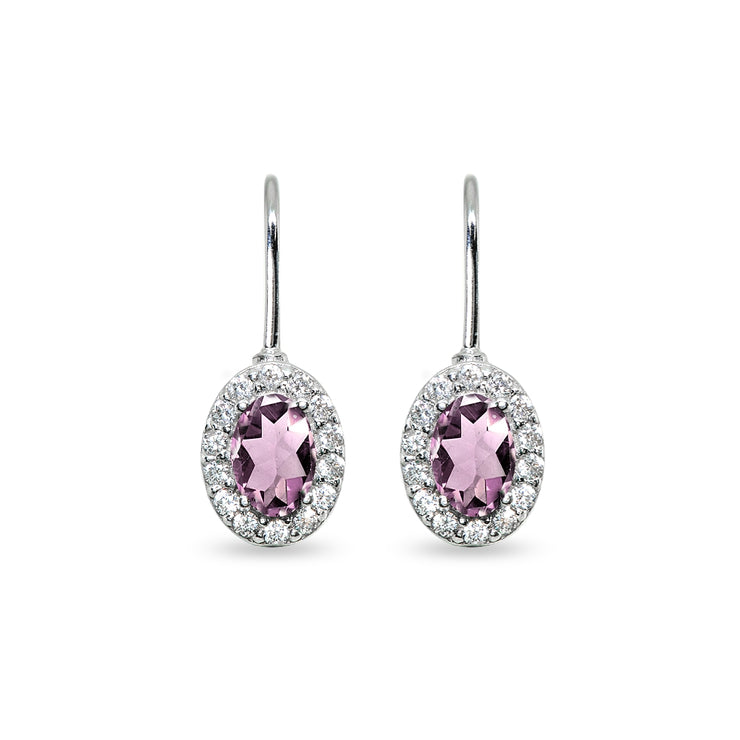 Sterling Silver Created Alexandrite & Cubic Zirconia 6x4mm Oval Halo Drop Leverback Earrings