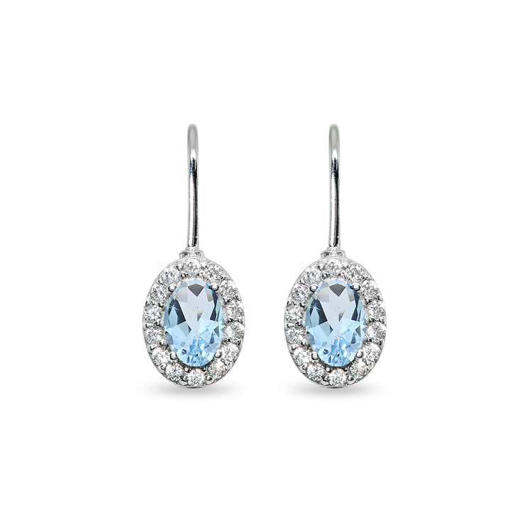 Sterling Silver Blue Topaz & Cubic Zirconia 6x4mm Oval Halo Drop Leverback Earrings