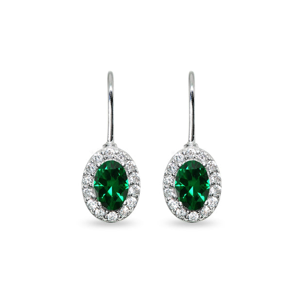 Sterling Silver Created Emerald & Cubic Zirconia 6x4mm Oval Halo Drop Leverback Earrings