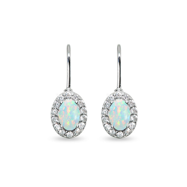Sterling Silver Created White Opal & Cubic Zirconia 6x4mm Oval Halo Drop Leverback Earrings