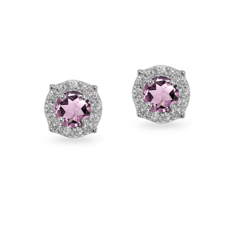 Sterling Silver Created Alexandrite & White Topaz 5mm Round Halo Stud Earrings