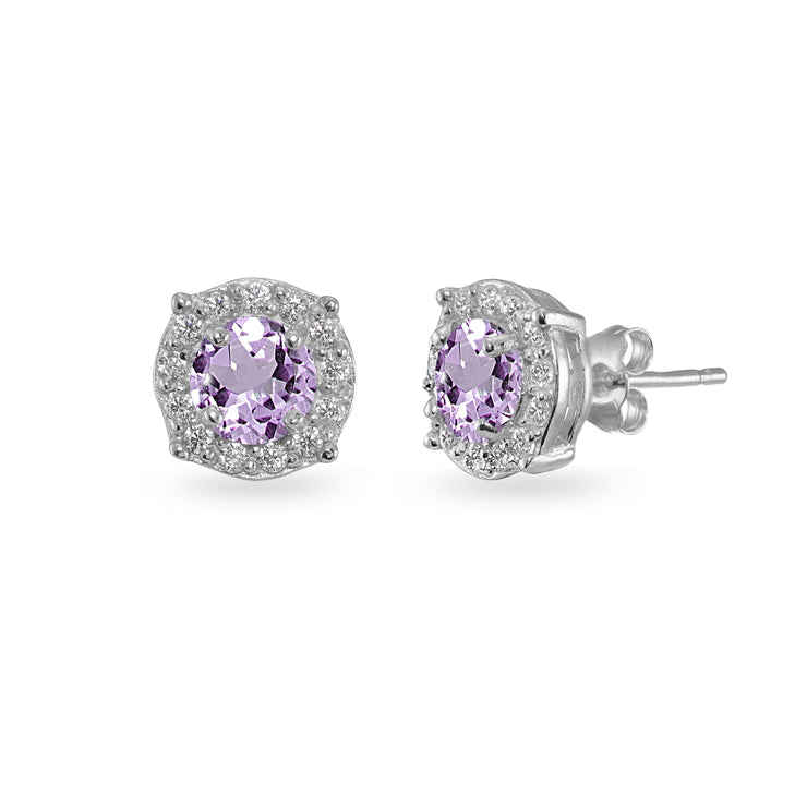 Sterling Silver Amethyst & White Topaz 5mm Round Halo Stud Earrings