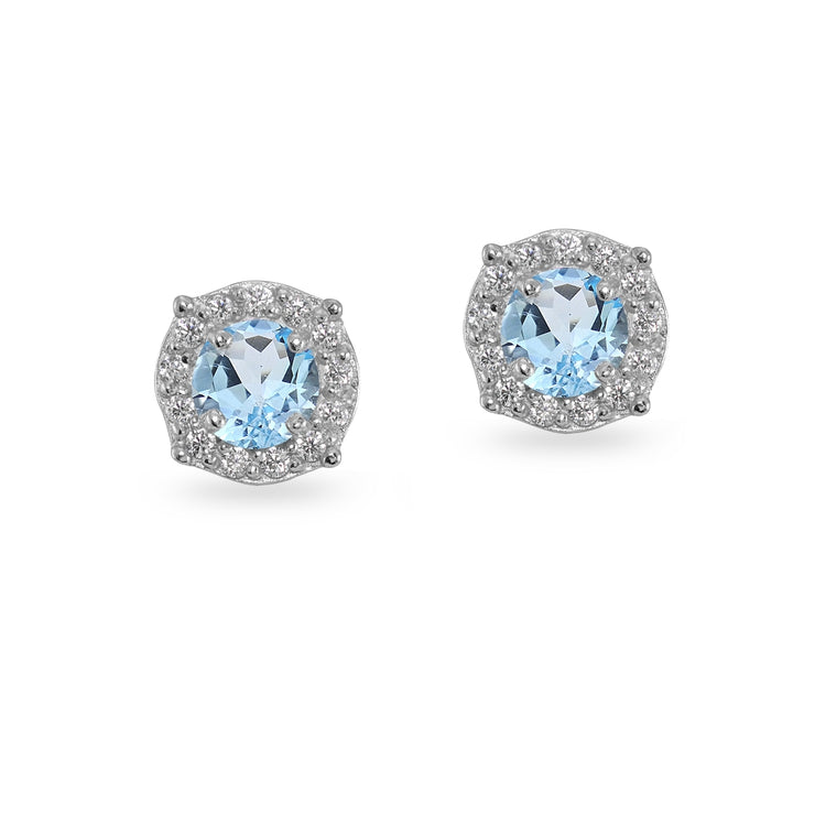 Sterling Silver Blue & White Topaz 5mm Round Halo Stud Earrings