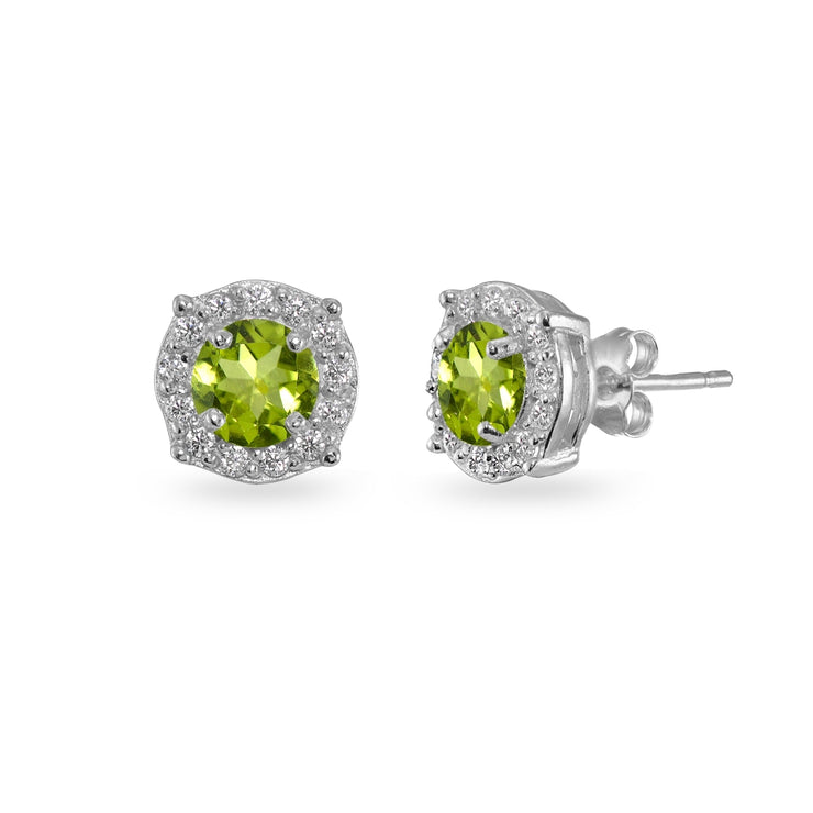 Sterling Silver Peridot & White Topaz 5mm Round Halo Stud Earrings