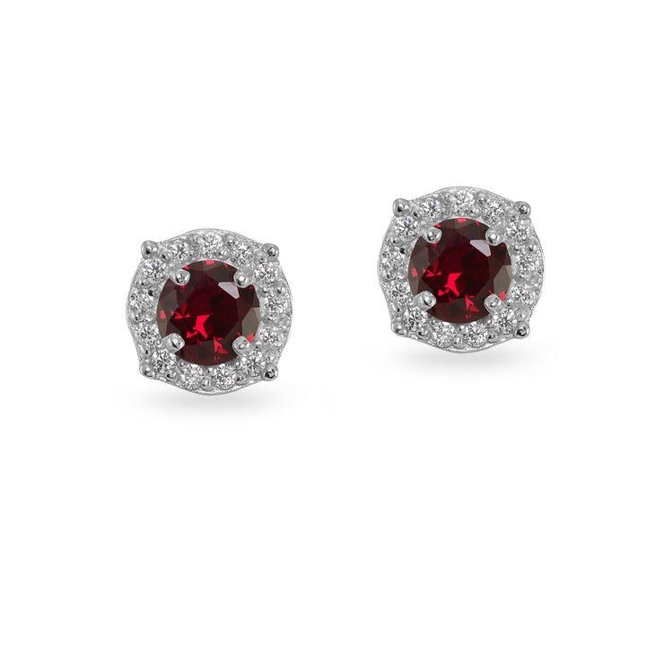 Sterling Silver Created Ruby & White Topaz 5mm Round Halo Stud Earrings