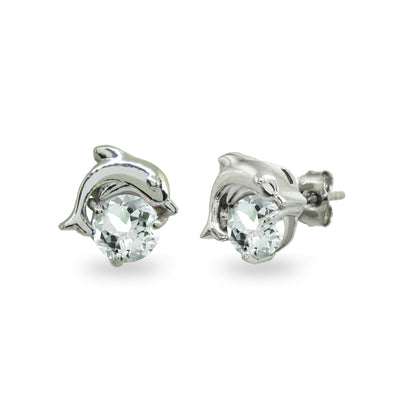 Sterling Silver Light Aquamarine Round 5mm Polished Dolphin Stud Earrings