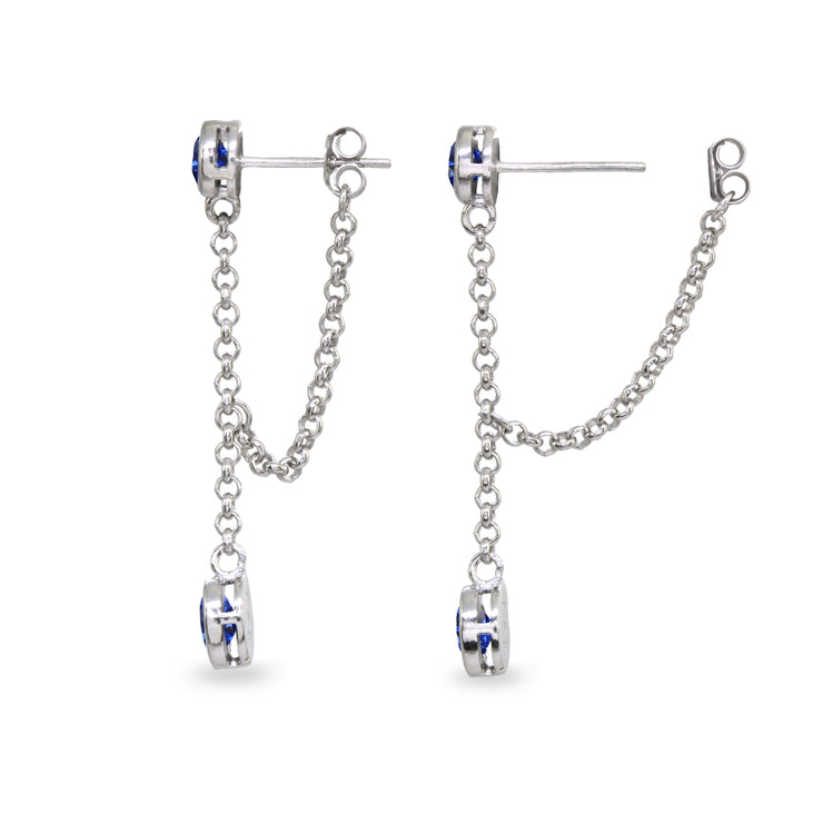 Sterling Silver Created Blue Sapphire Round Two Stone Bezel-Set Chain Drop Dangle Earrings