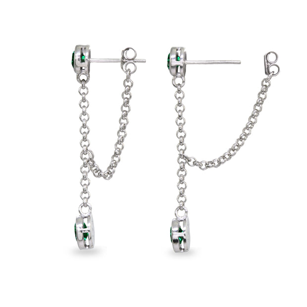 Sterling Silver Created Emerald Round Two Stone Bezel-Set Chain Drop Dangle Earrings