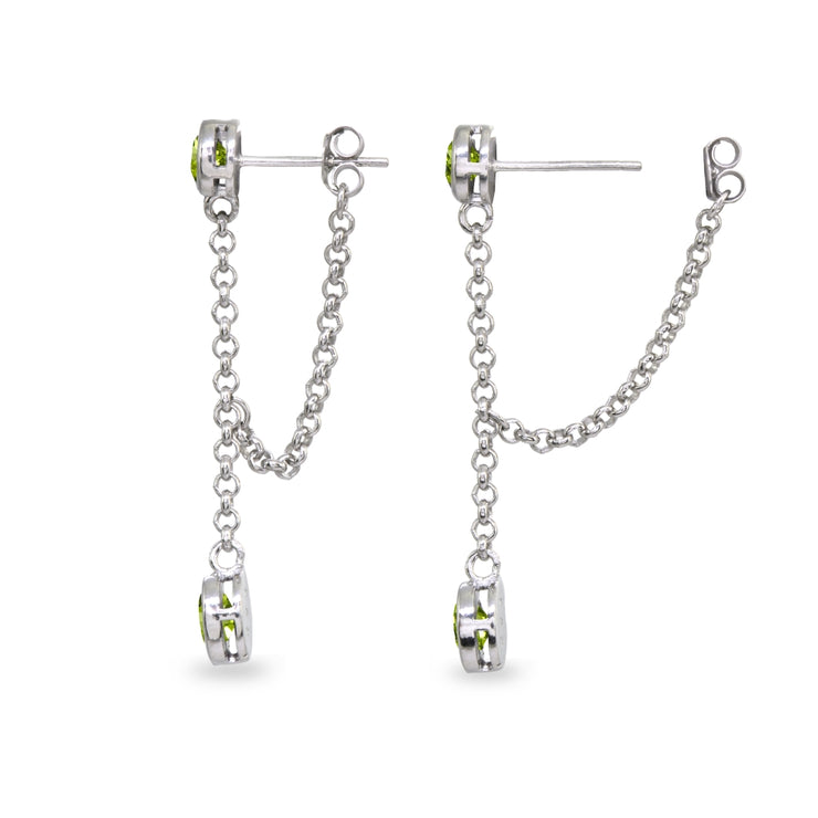 Sterling Silver Peridot Round Two Stone Bezel-Set Chain Drop Dangle Earrings