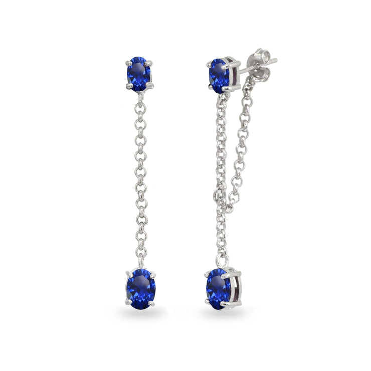Sterling Silver Created Blue Sapphire Oval Two Stone Bezel-Set Chain Drop Dangle Earrings