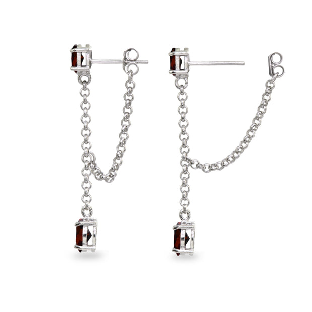 Sterling Silver Garnet Oval Two Stone Bezel-Set Chain Drop Dangle Earrings