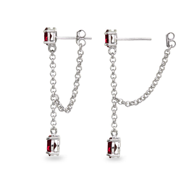 Sterling Silver Created Ruby Oval Two Stone Bezel-Set Chain Drop Dangle Earrings