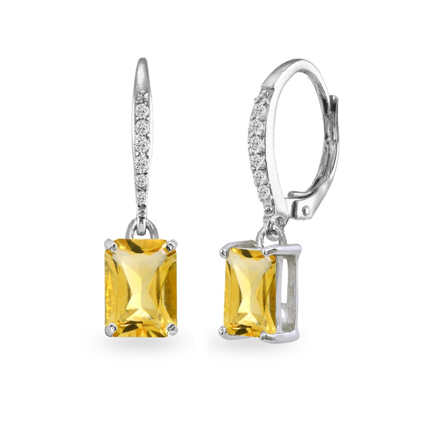 Sterling Silver Citrine & Cubic Zirconia 8x6mm Octagon-cut Polished Dangle Leverback Earrings