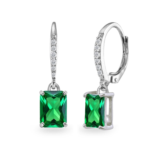 Sterling Silver Created Emerald & Cubic Zirconia 8x6mm Octagon-cut Polished Dangle Leverback Earrings