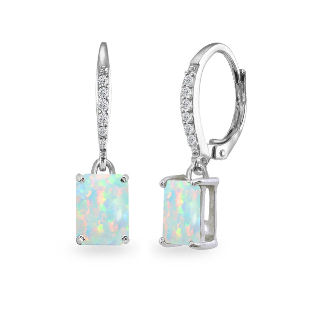 Sterling Silver Created White Opal & Cubic Zirconia 8x6mm Octagon-cut Polished Dangle Leverback Earrings