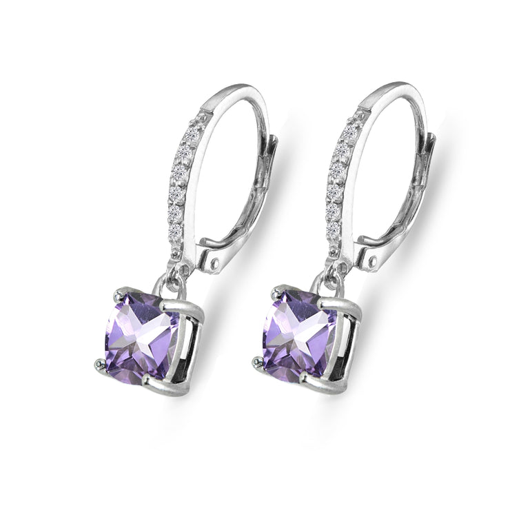 Sterling Silver Amethyst & Cubic Zirconia 7mm Cushion-Cut Solitaire Dangle Leverback Earrings