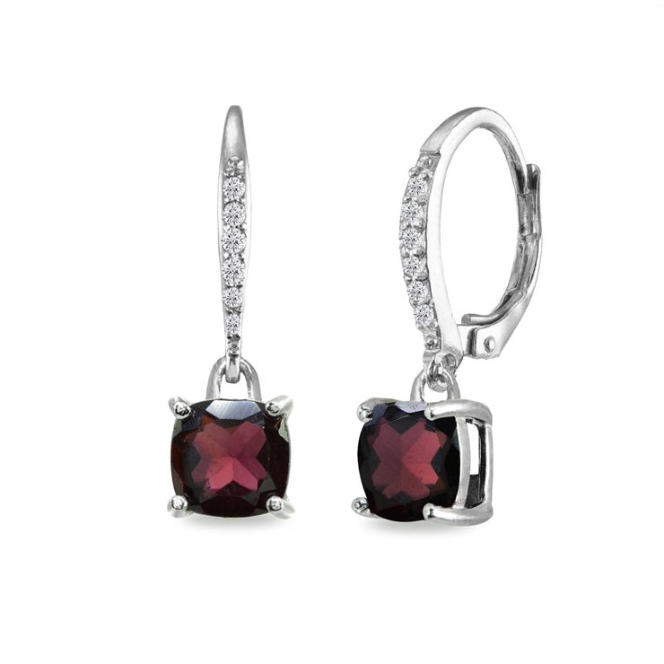 Sterling Silver Garnet & Cubic Zirconia 7mm Cushion-Cut Solitaire Dangle Leverback Earrings