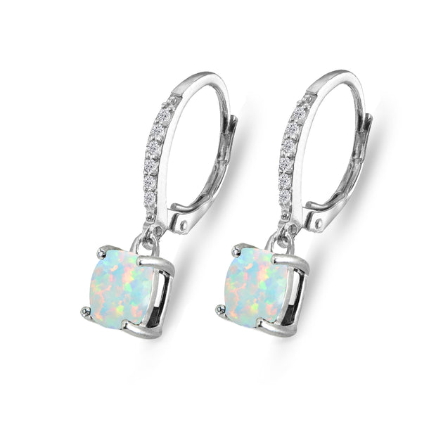 Sterling Silver Created White Opal & Cubic Zirconia 7mm Cushion-Cut Solitaire Dangle Leverback Earrings