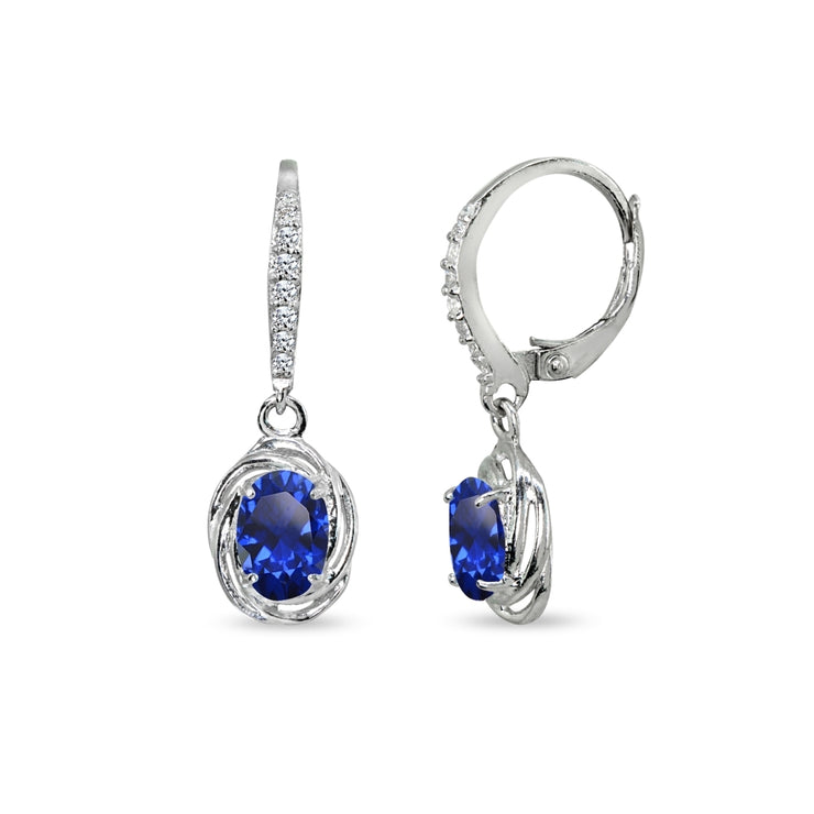 Sterling Silver Created Blue Sapphire & Cubic Zirconia 7x5mm Oval Love Knot Leverback Earrings