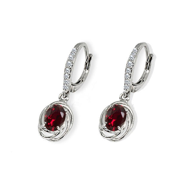 Sterling Silver Created Ruby & Cubic Zirconia 7x5mm Oval Love Knot Leverback Earrings