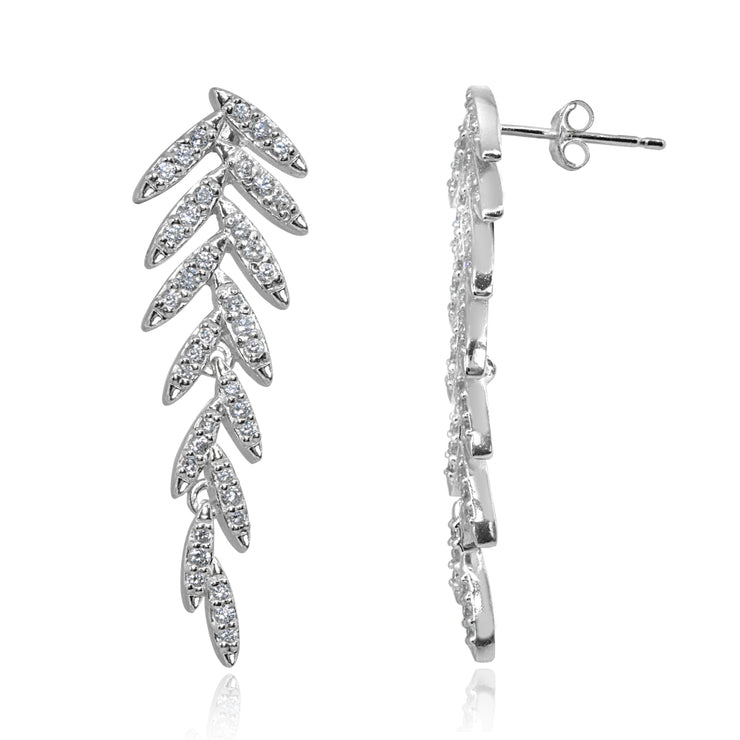 Sterling Silver Cubic Zirconia Round Polished Leaf Drop Earrings