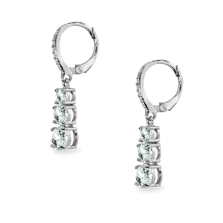 Sterling Silver Light Aquamarine and Cubic Zirconia 3-Stone Journey Dangle Leverback Earrings