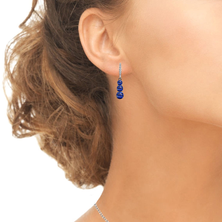 Sterling Silver Created Blue Sapphire and Cubic Zirconia 3-Stone Journey Dangle Leverback Earrings