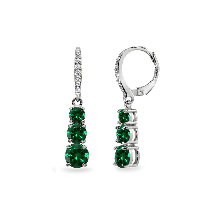 Sterling Silver Created Emerald and Cubic Zirconia 3-Stone Journey Dangle Leverback Earrings