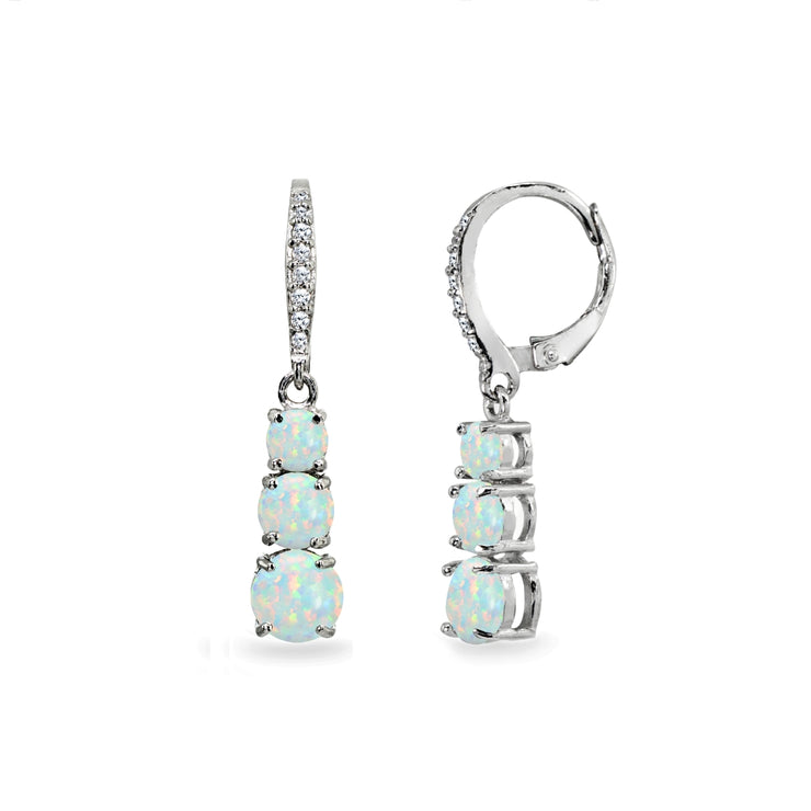 Sterling Silver Created White Opal and Cubic Zirconia 3-Stone Journey Dangle Leverback Earrings
