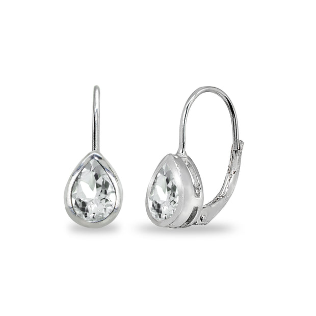 Sterling Silver Light Aquamarine 7x5mm Teardrop Bezel-Set Dainty Leverback Earrings