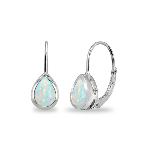 Sterling Silver Created White Opal 7x5mm Teardrop Bezel-Set Dainty Leverback Earrings