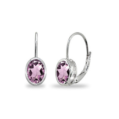 Sterling Silver Simulated Alexandrite 7x5mm Oval Bezel-Set Dainty Leverback Earrings