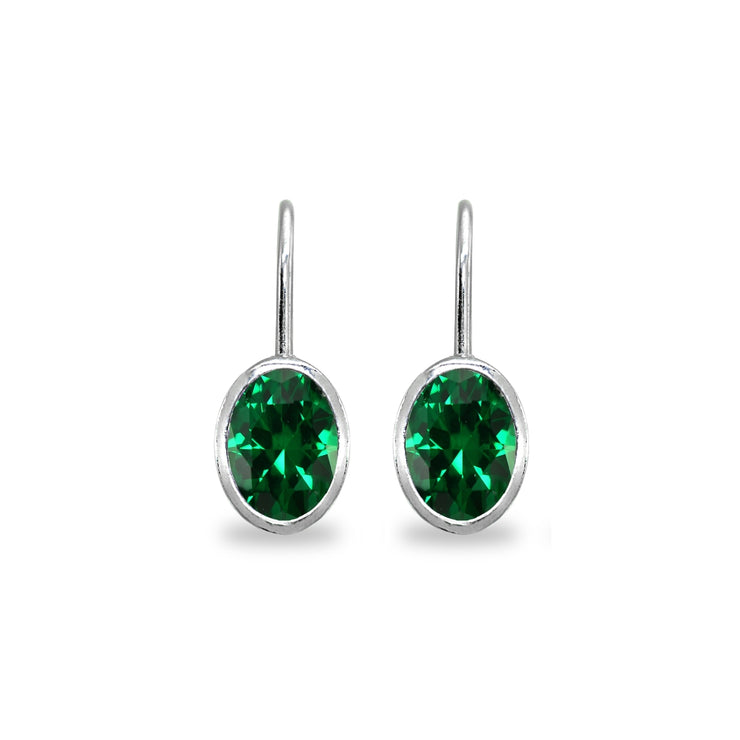 Sterling Silver Simulated Emerald 7x5mm Oval Bezel-Set Dainty Leverback Earrings