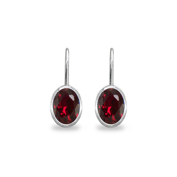 Sterling Silver Created Ruby 7x5mm Oval Bezel-Set Dainty Leverback Earrings